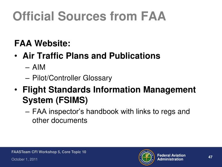 Official Sources from FAA