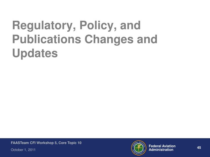 Regulatory, Policy, and Publications Changes and Updates