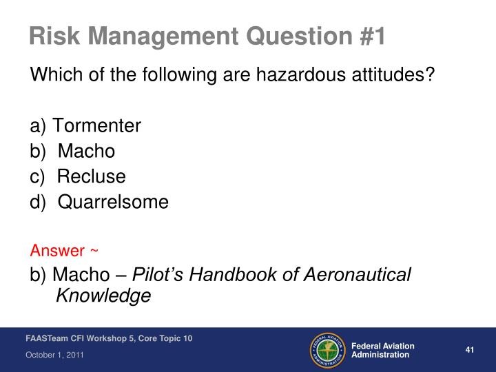 Risk Management Question #1