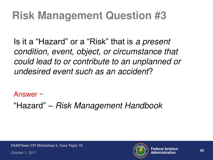Risk Management Question #3