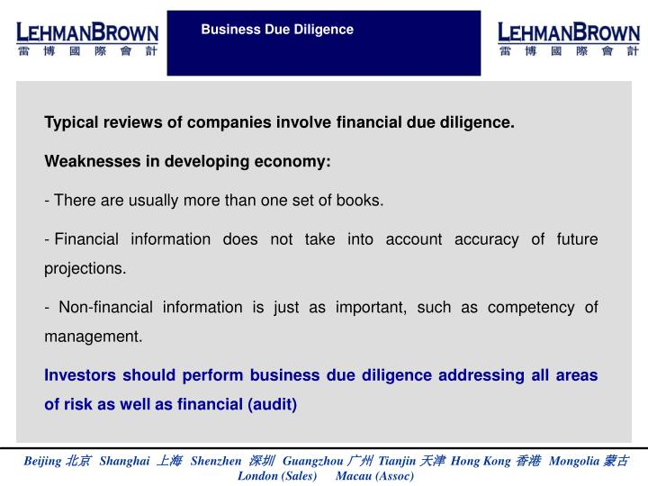 Business Due Diligence