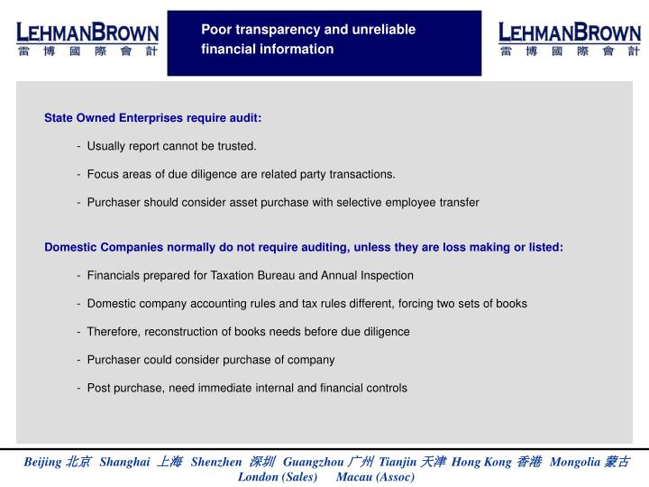 Poor transparency and unreliable financial information