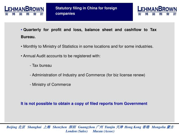 Statutory filing in China for foreign companies