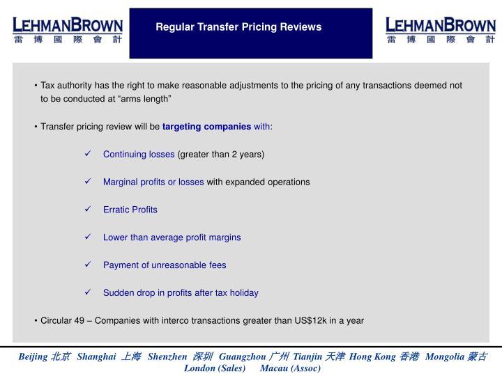 Regular Transfer Pricing Reviews