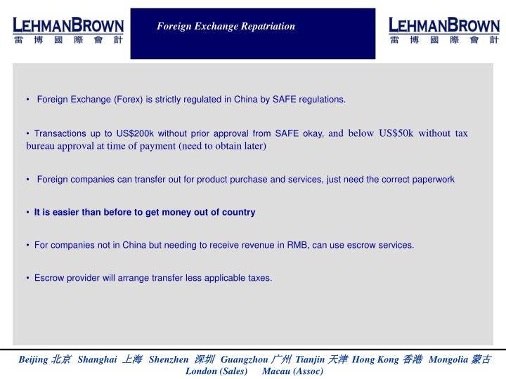 Foreign Exchange Repatriation