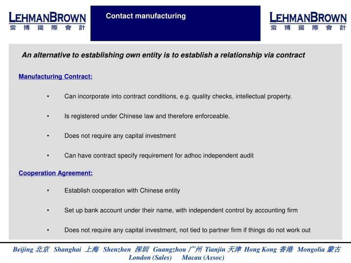 Contact manufacturing
