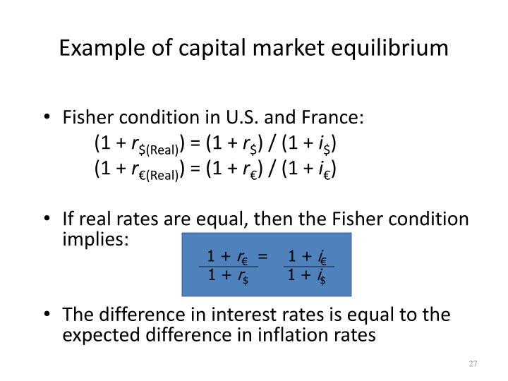 Example of capital market equilibrium