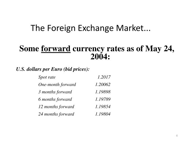 The Foreign Exchange Market...