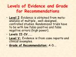 levels of evidence and grade for recommendations
