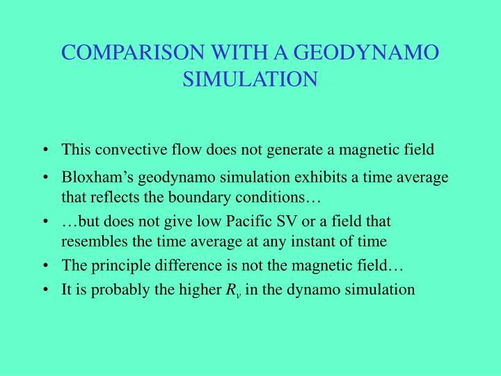 COMPARISON WITH A GEODYNAMO SIMULATION
