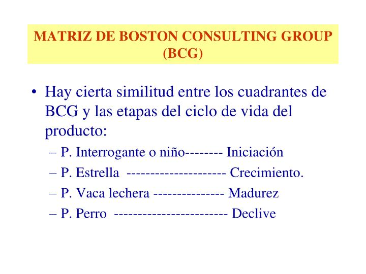MATRIZ DE BOSTON CONSULTING GROUP (BCG)