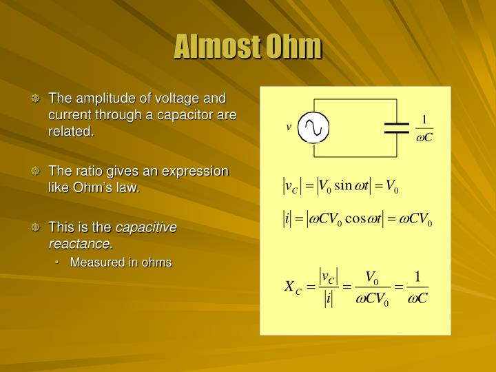 The amplitude of voltage and current through a capacitor are related.