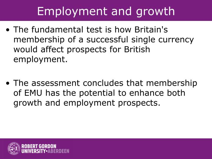 Employment and growth