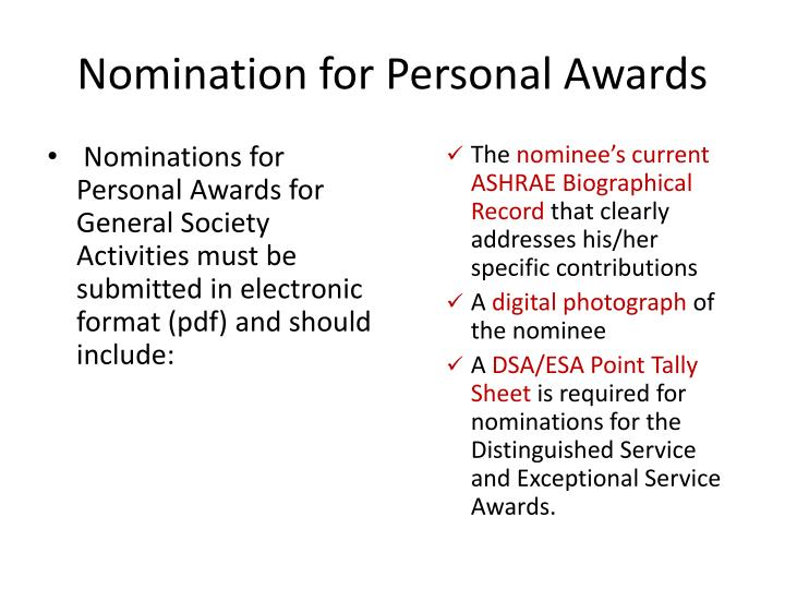 Nomination for Personal Awards