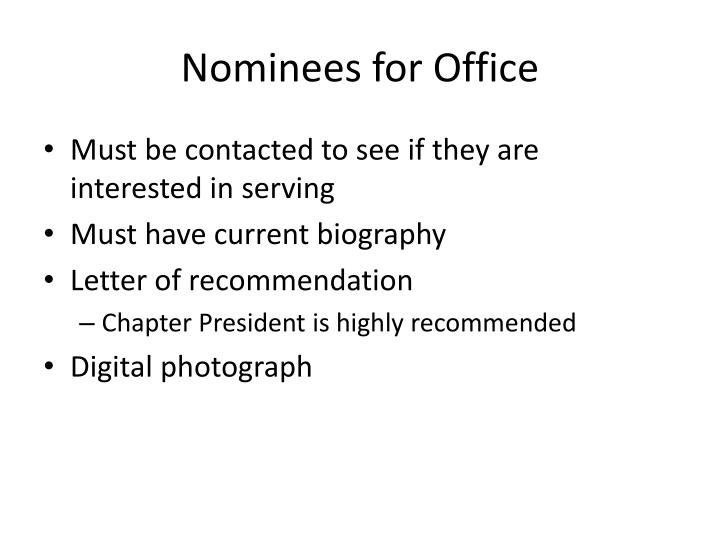 Nominees for Office