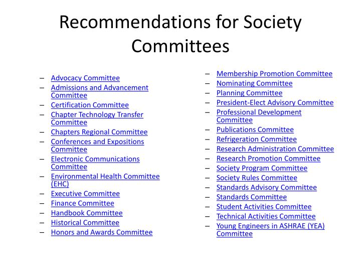 Recommendations for Society Committees