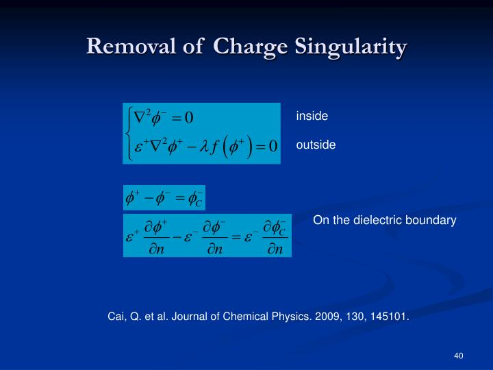 Removal of Charge Singularity