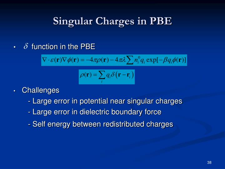 Singular Charges in PBE