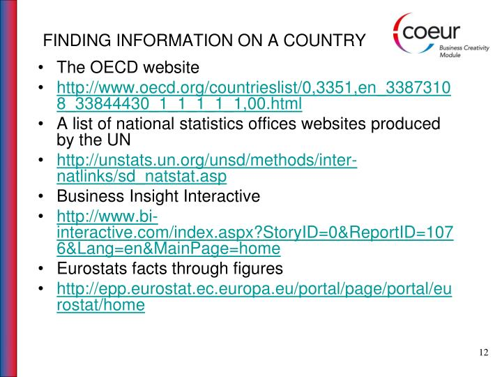 FINDING INFORMATION ON A COUNTRY