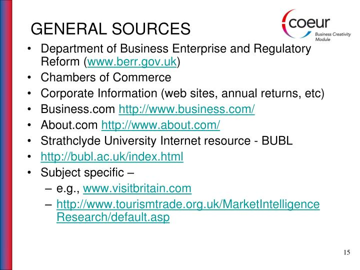 GENERAL SOURCES