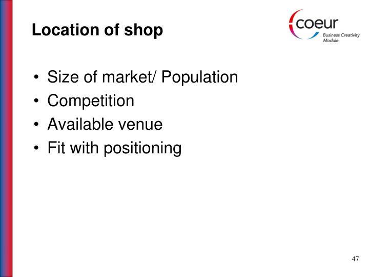 Location of shop