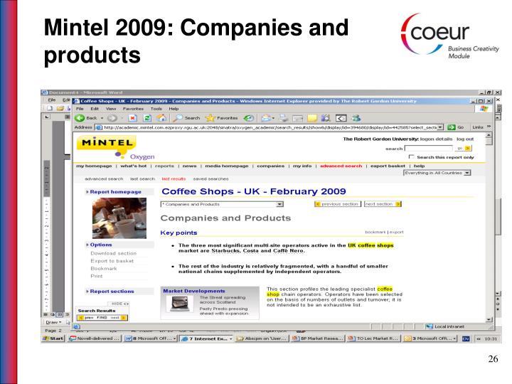 Mintel 2009: Companies and