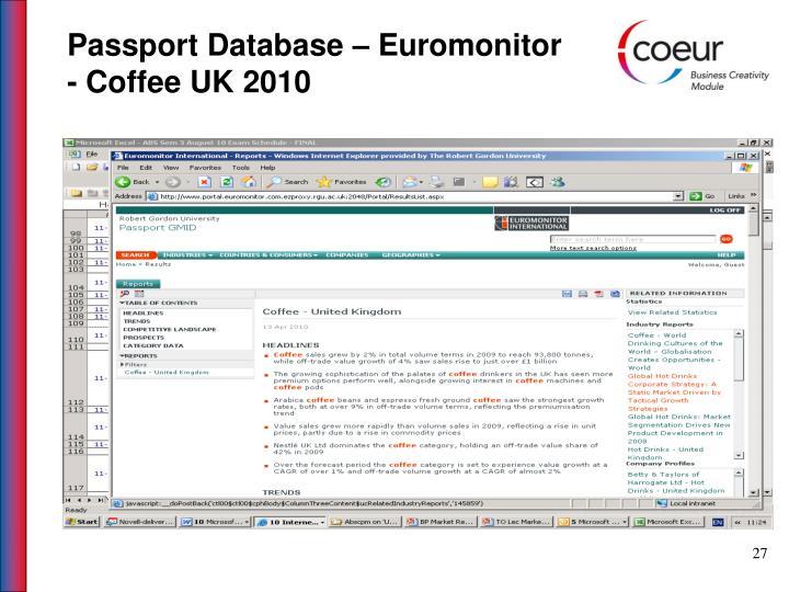 Passport Database – Euromonitor