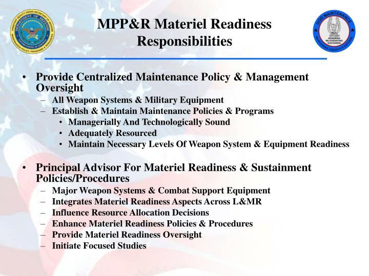 Mpp r materiel readiness responsibilities
