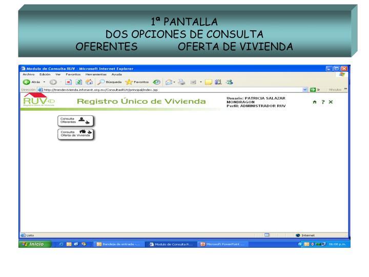 1 pantalla dos opciones de consulta oferentes oferta de vivienda