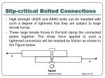 slip critical bolted connections