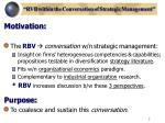 rvb within the conversation of strategic management