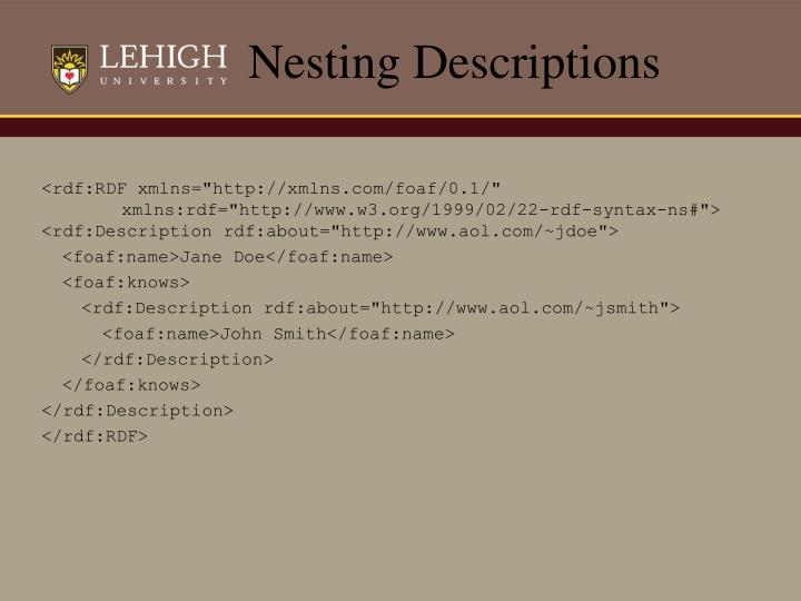Nesting Descriptions