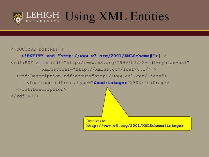 Using XML Entities