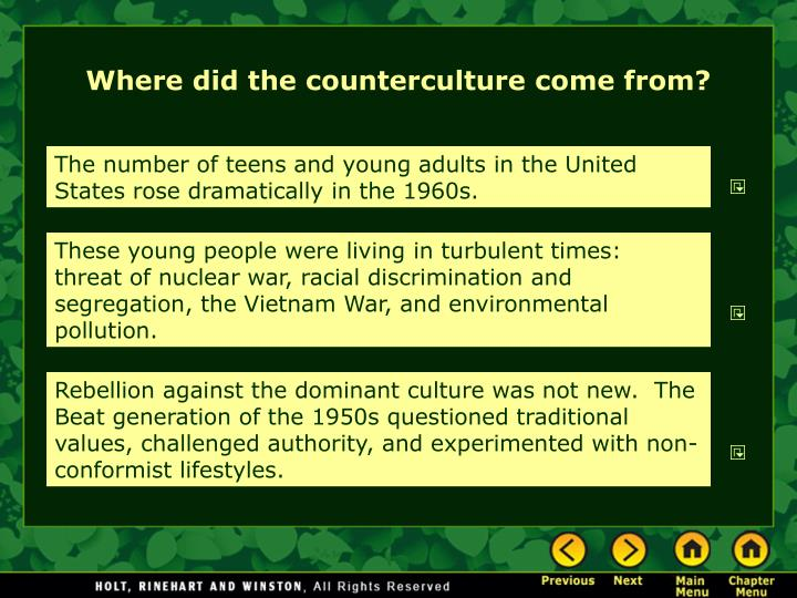 Where did the counterculture come from?