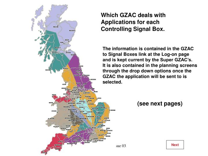 Which GZAC deals with Applications for each Controlling Signal Box.