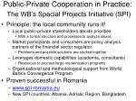 public private cooperation in practice the wb s special projects initiative spi