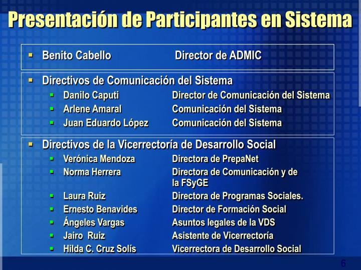 Presentación de Participantes en Sistema