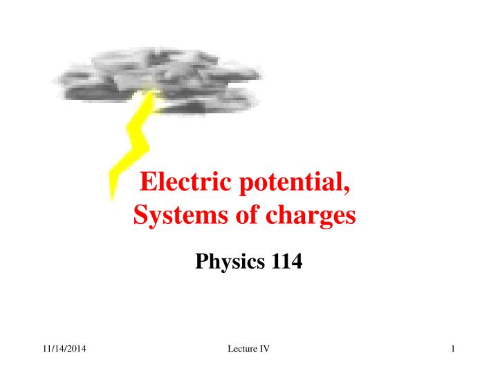 electric potential systems of charges