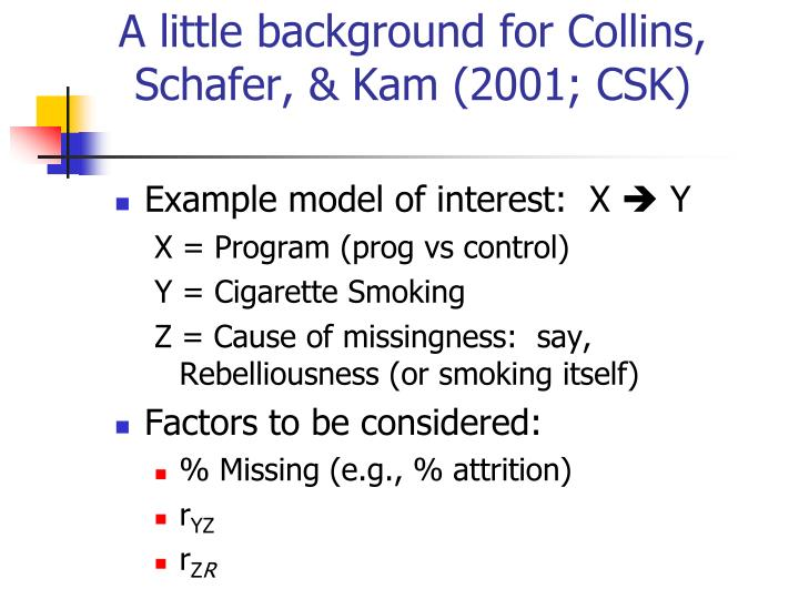 A little background for Collins, Schafer, & Kam (2001; CSK)