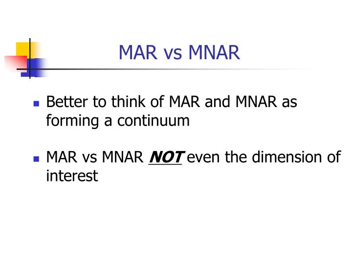 MAR vs MNAR