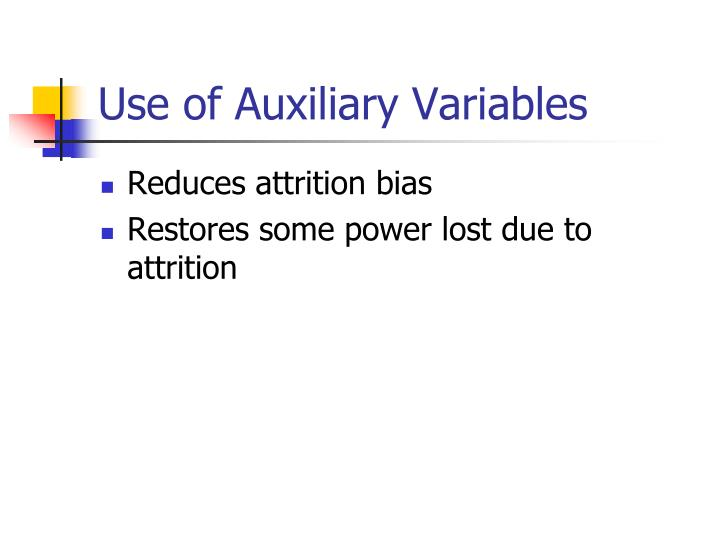Use of Auxiliary Variables