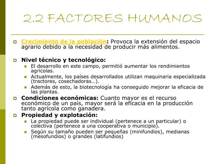 2.2 FACTORES HUMANOS