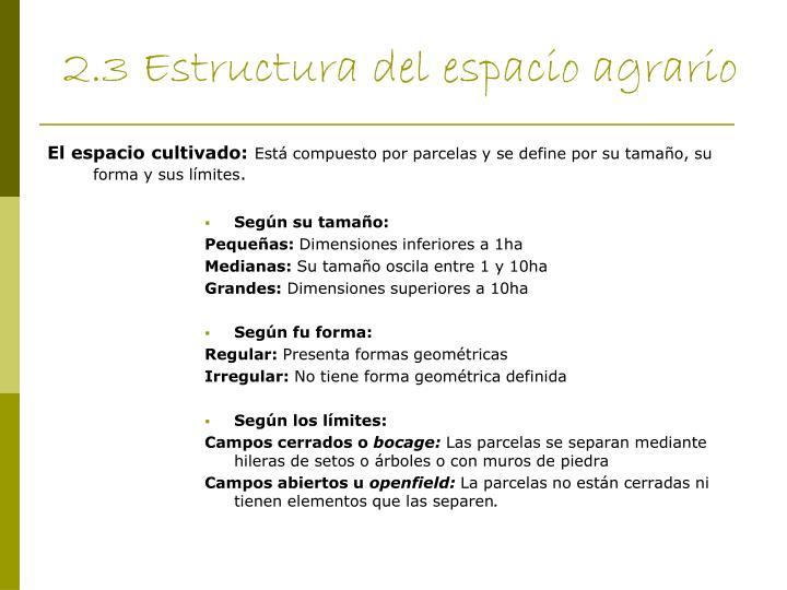 2.3 Estructura del espacio agrario