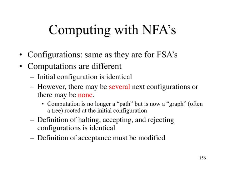 Computing with NFA's