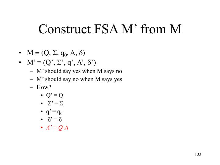 Construct FSA M' from M