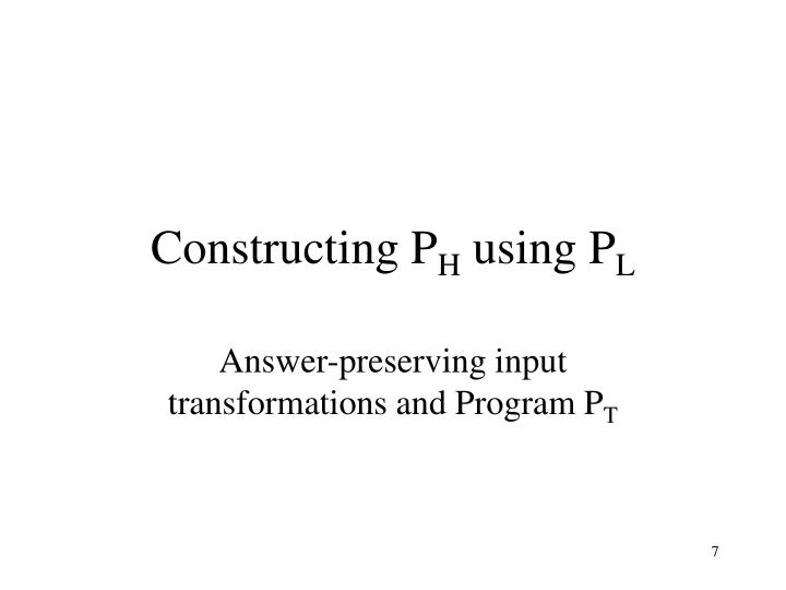 Constructing P