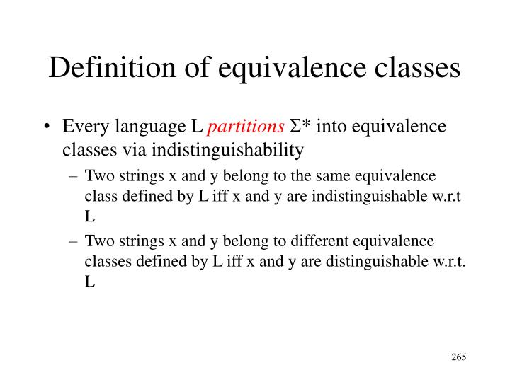 Definition of equivalence classes