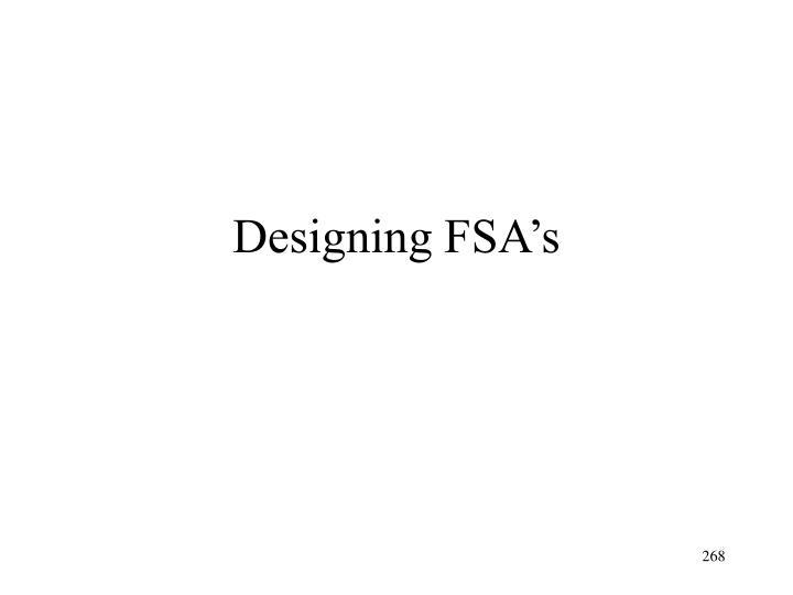 Designing FSA's