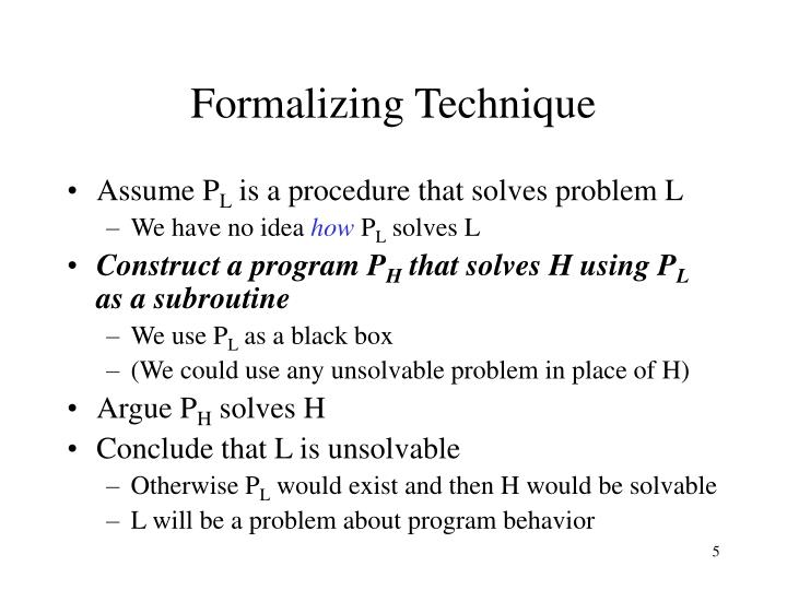 Formalizing Technique