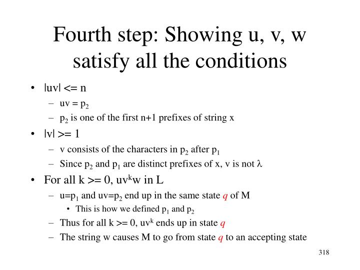 Fourth step: Showing u, v, w satisfy all the conditions